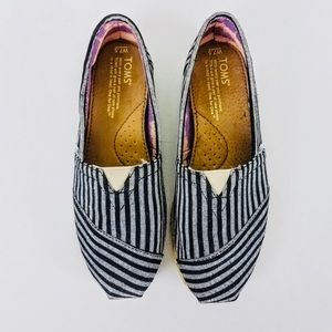Toms Grey & Navy Striped Canvas Flats